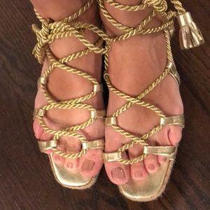 6791101a7c4 Yves Saint Laurent Shoes - Yves St Laurent Vintage Gold Gladiator Sandals 9